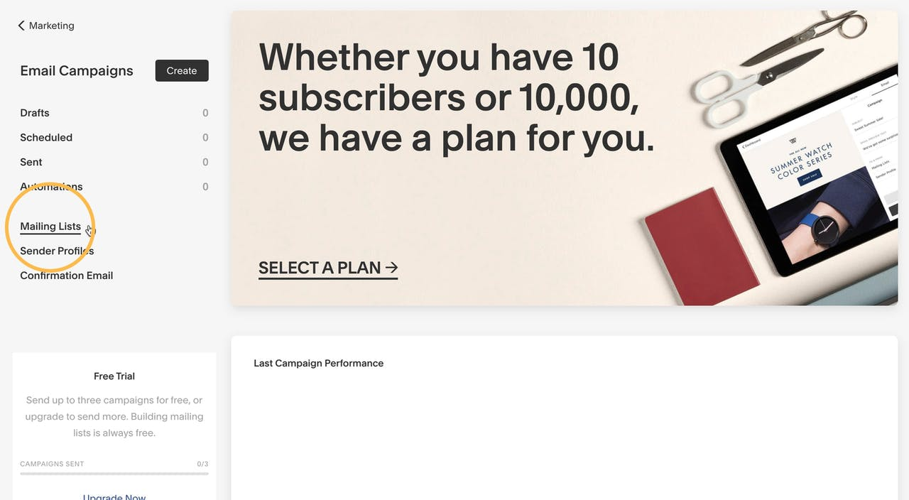 Squarespace Email Campaigns section Screenshot