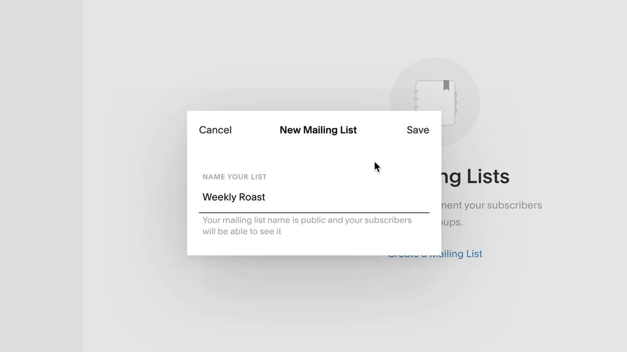 Create a new mailing list Screenshot