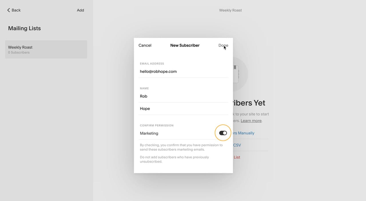 Adding new mailing list subscriber Screenshot