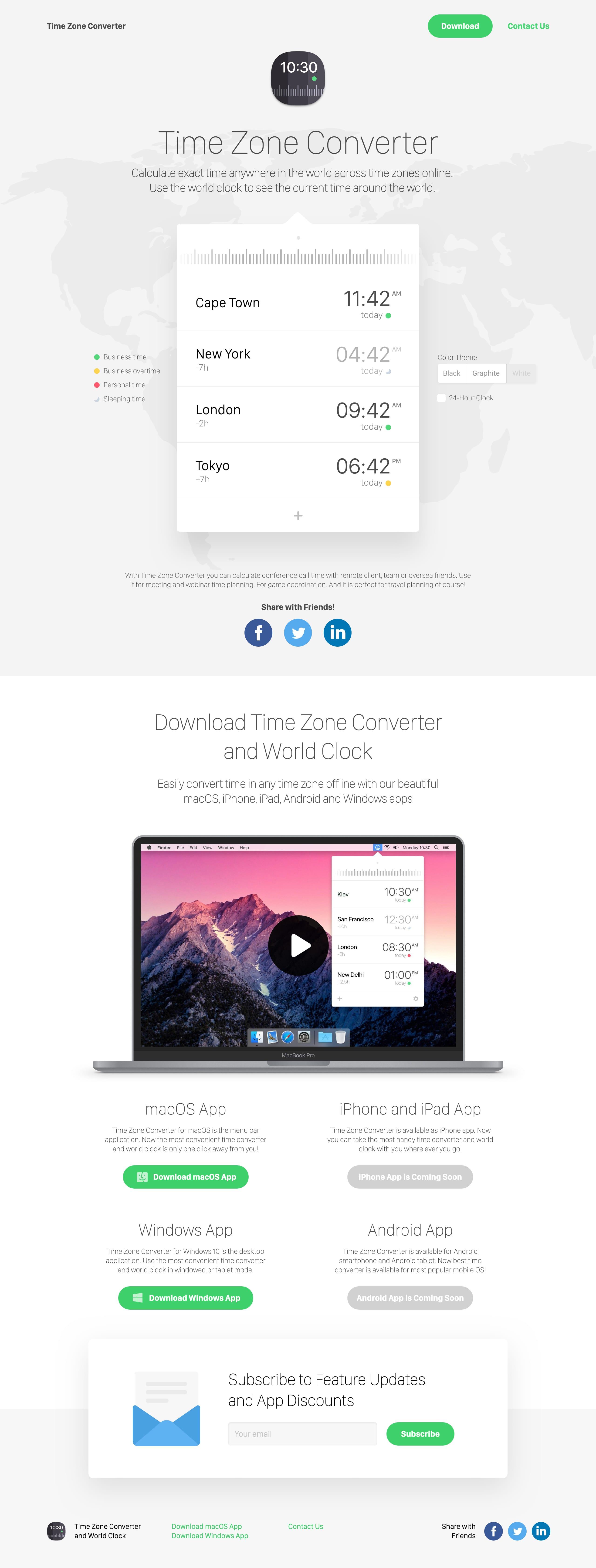 Time Zone Converter Website Screenshot