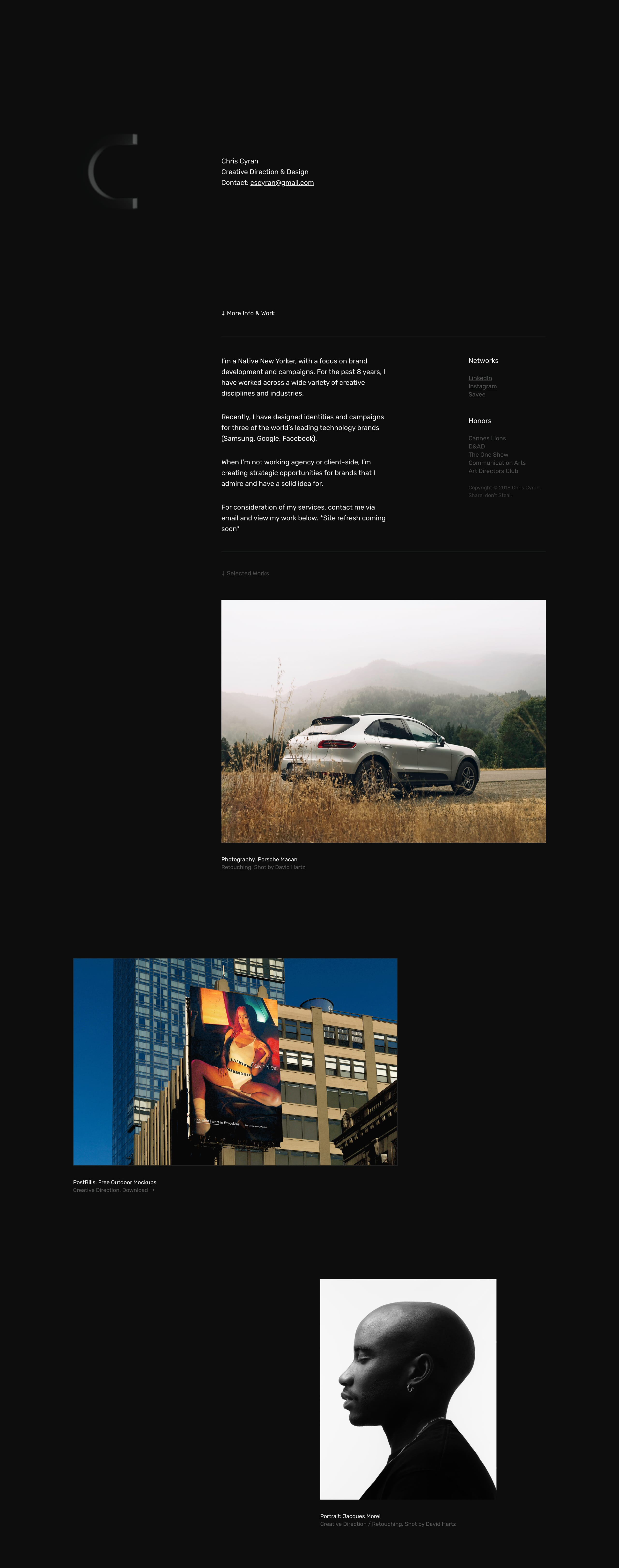 Chris Cyran Website Screenshot