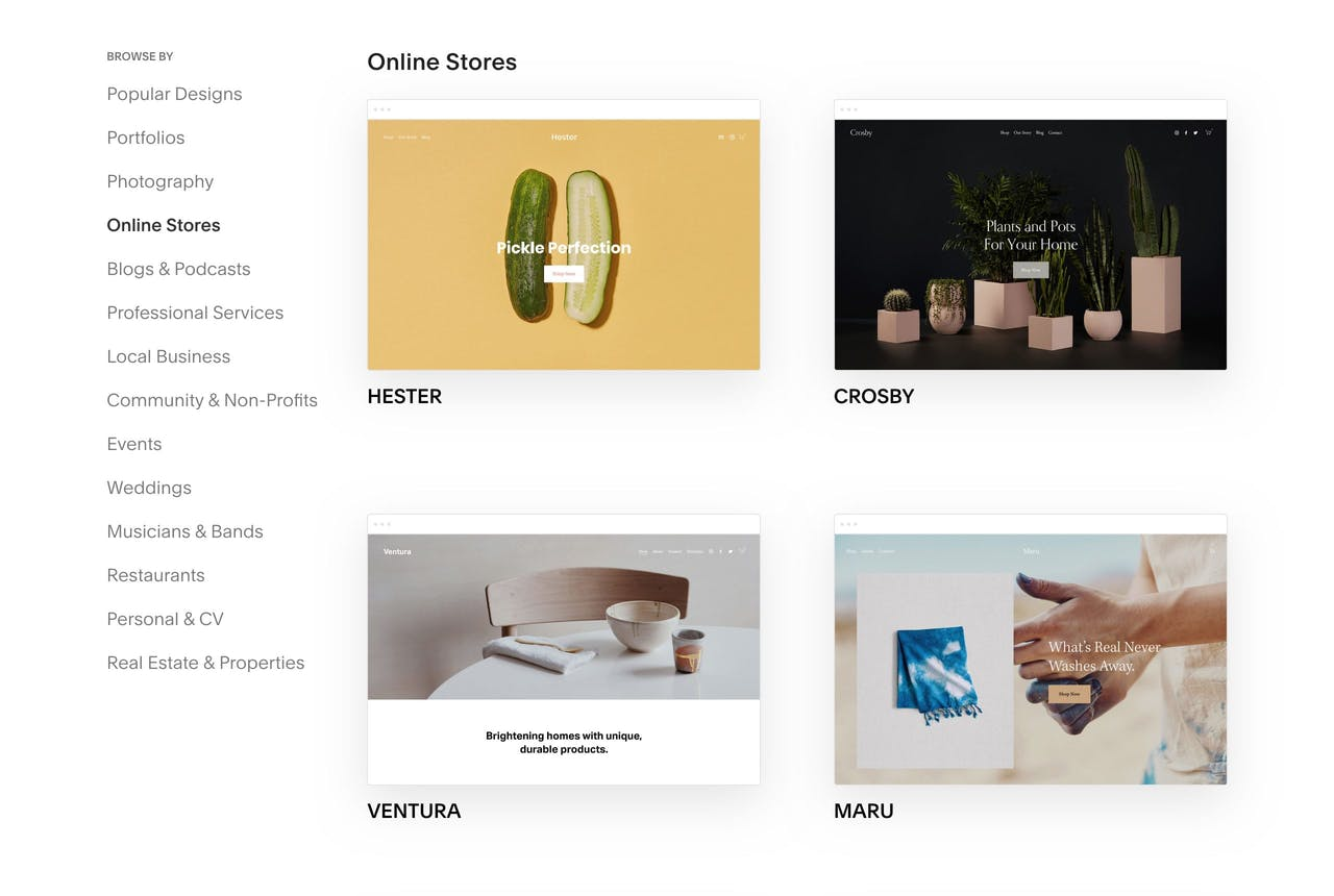 Squarespace Ecommerce Templates Screenshot