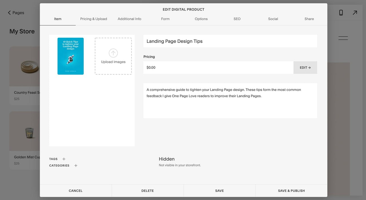 Squarespace product items Screenshot