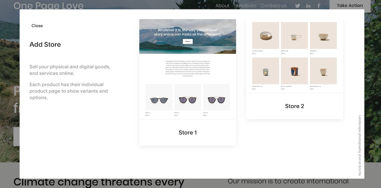 Choosing a Squarespace store design Screenshot