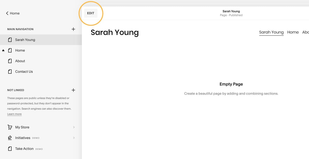 Squarespace edit page button Screenshot