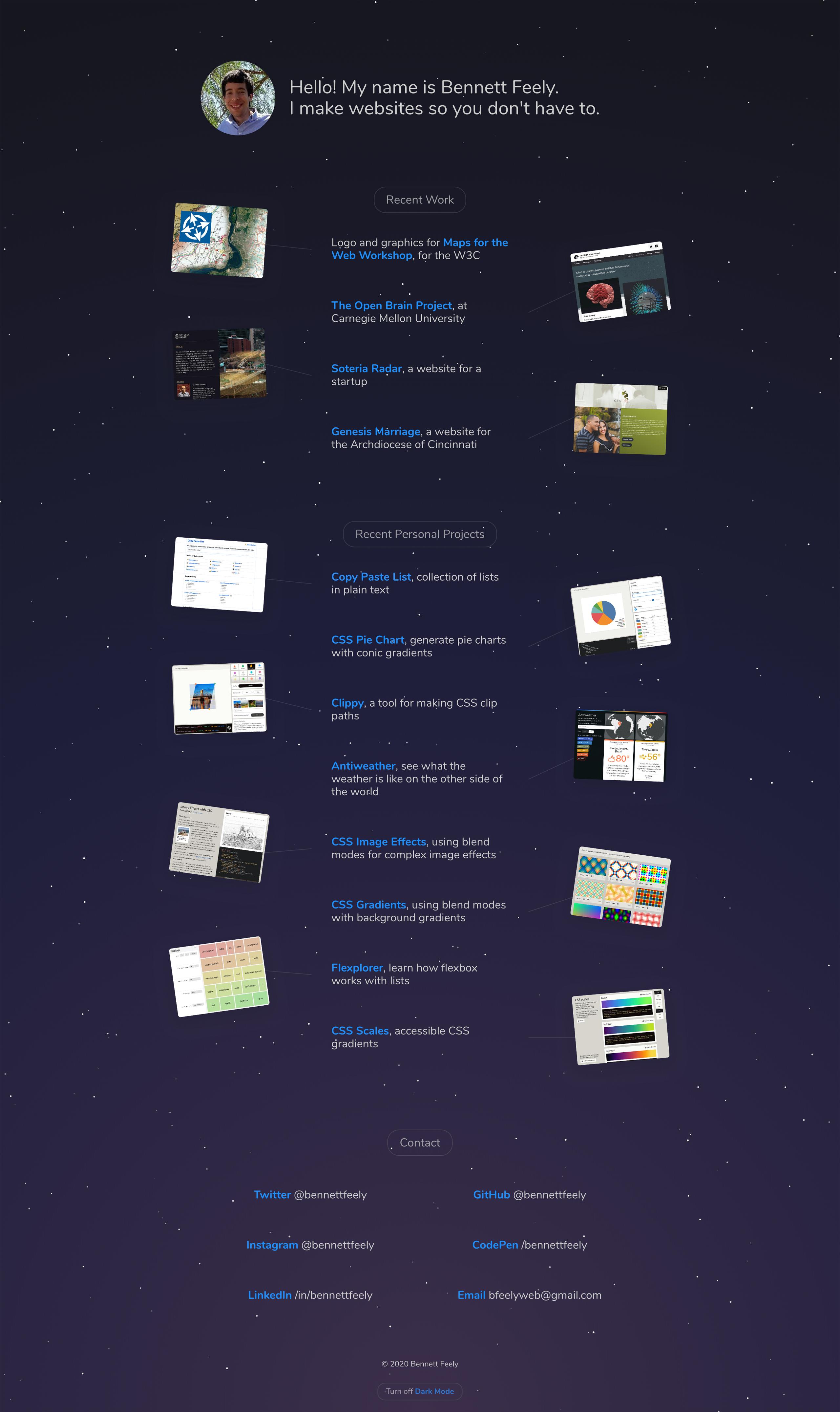 Bennett Feely Website Screenshot