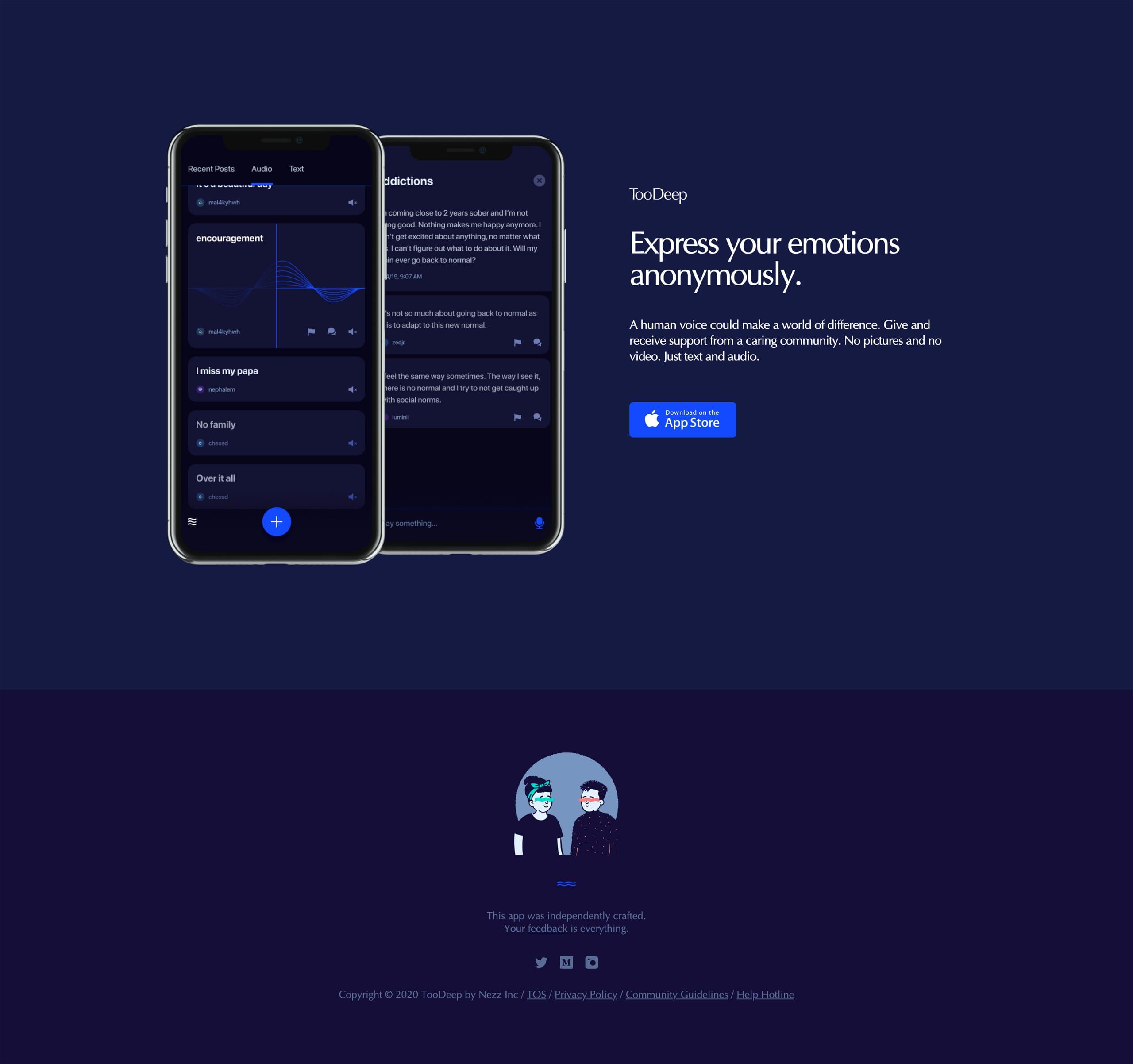 TooDeep Website Screenshot