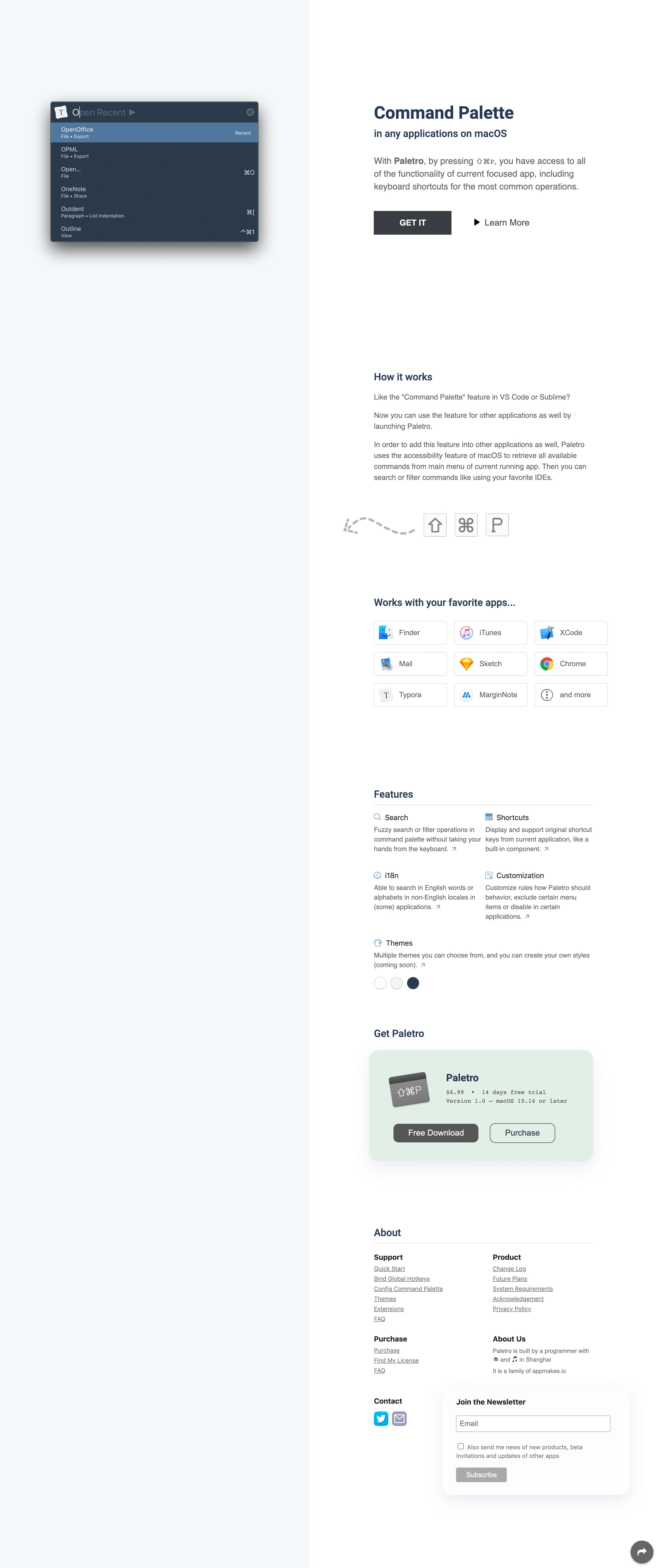 Paletro Website Screenshot