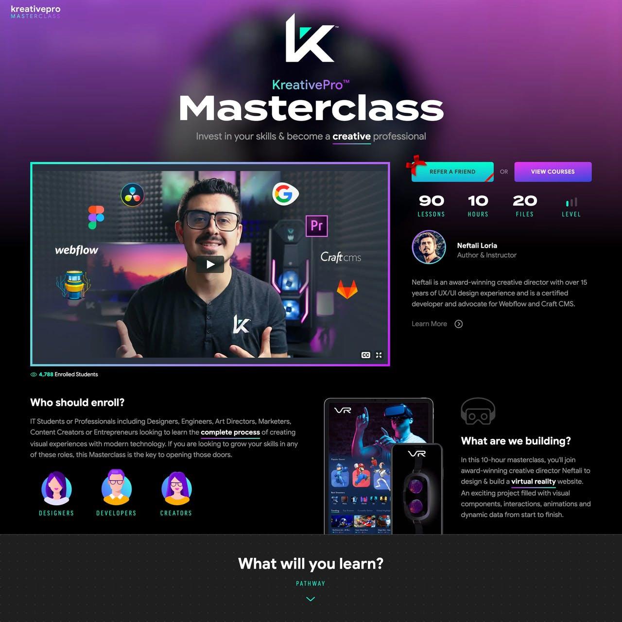 KreativePro Masterclass Website Screenshot
