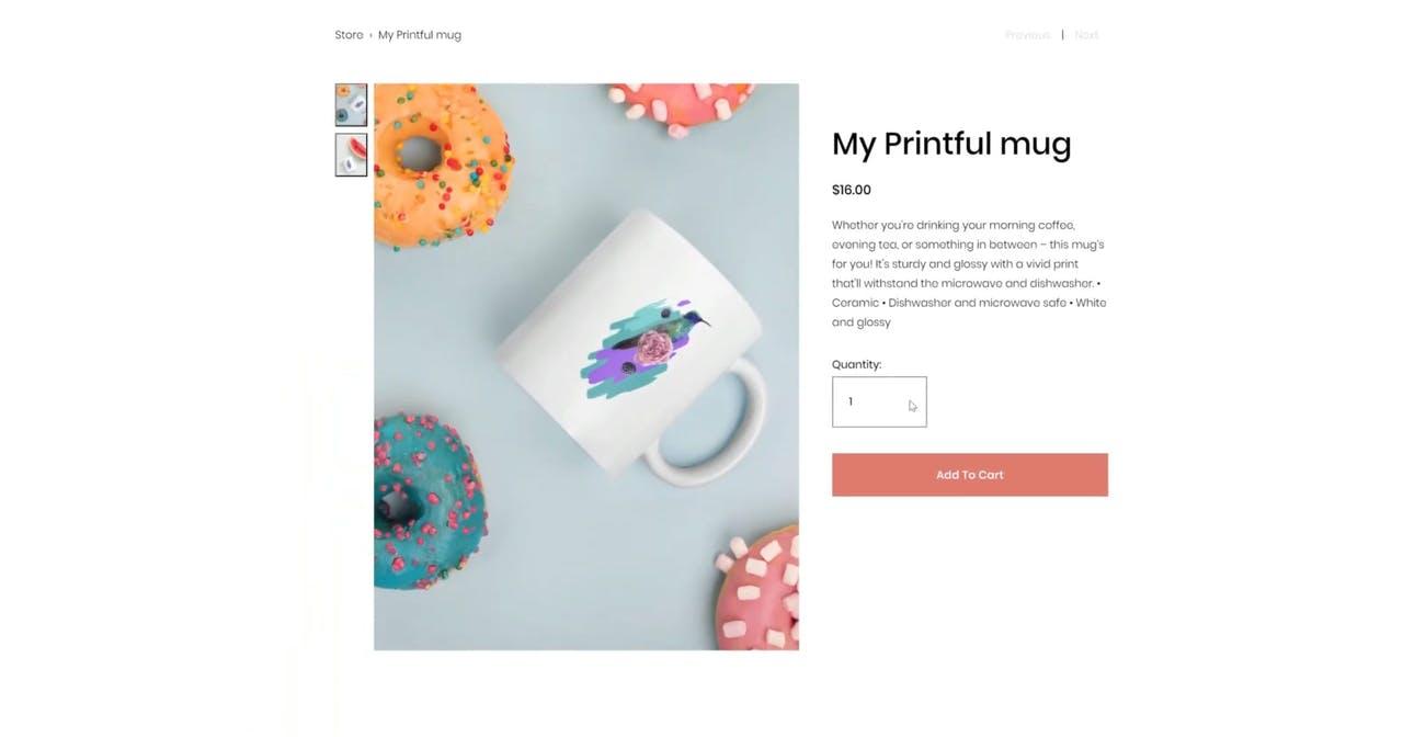 Squarespace Printful integration - final product Screenshot