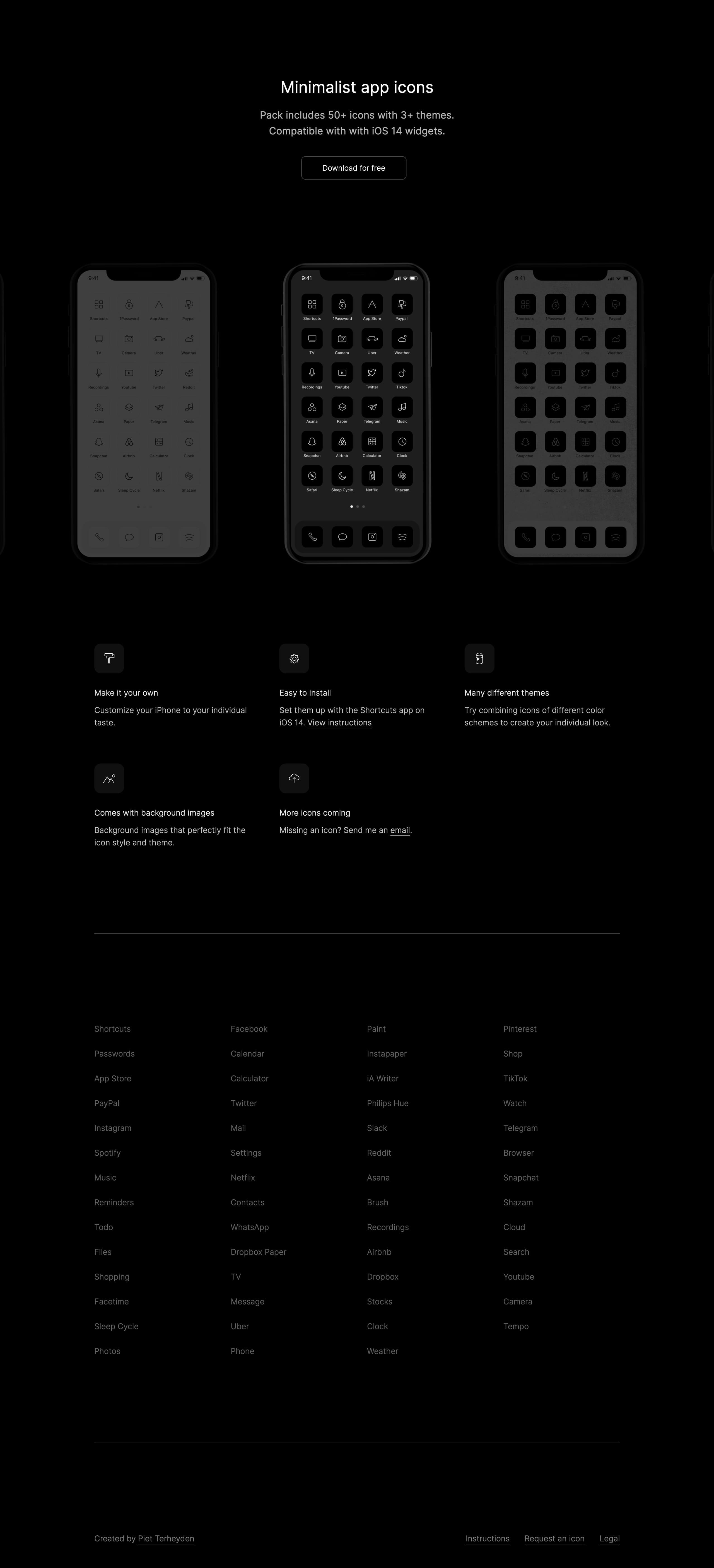 Minimalist iOS 14 Icons Website Screenshot
