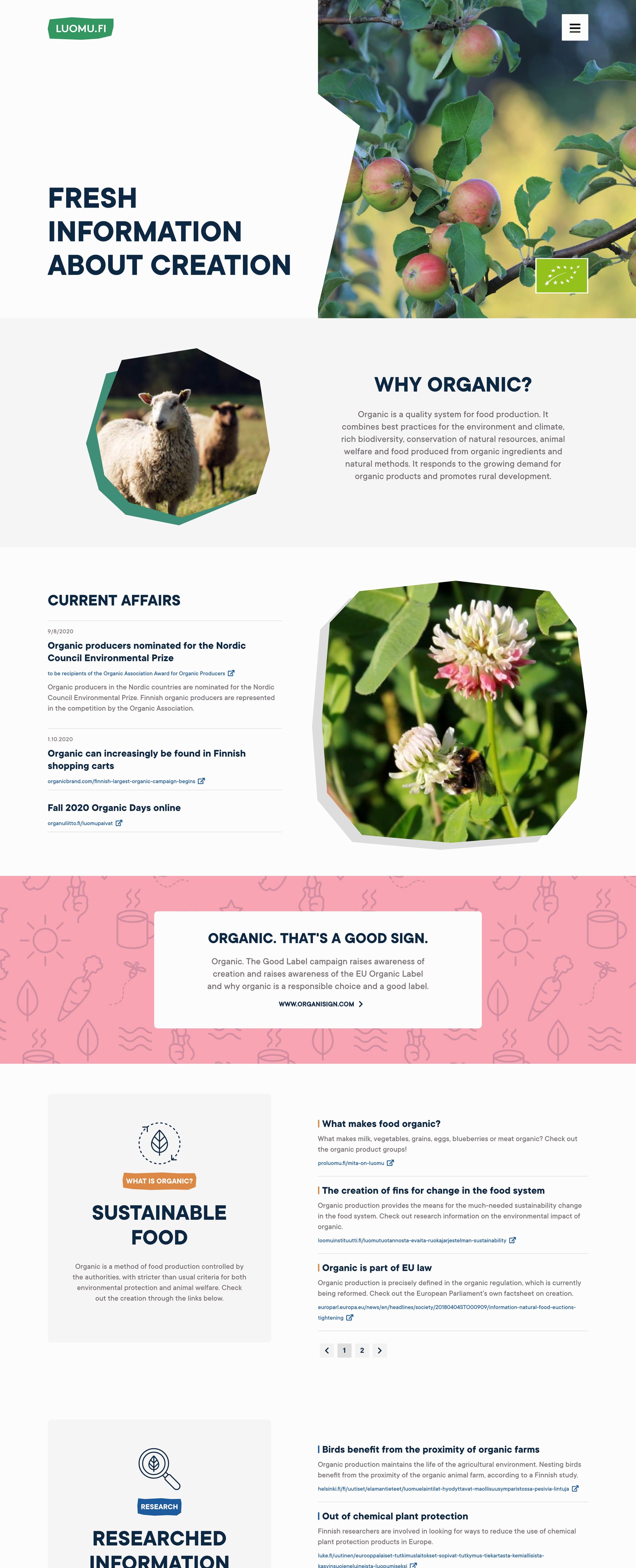 Luomu.fi Website Screenshot