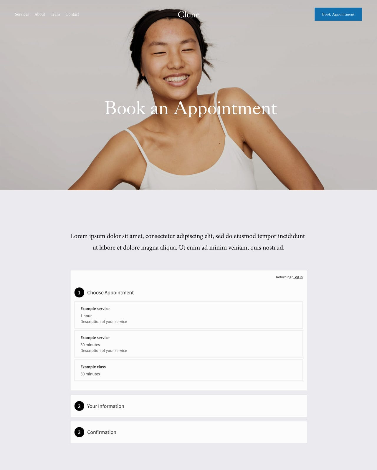 Squarespace Clune Template - Booking Page Preview Screenshot
