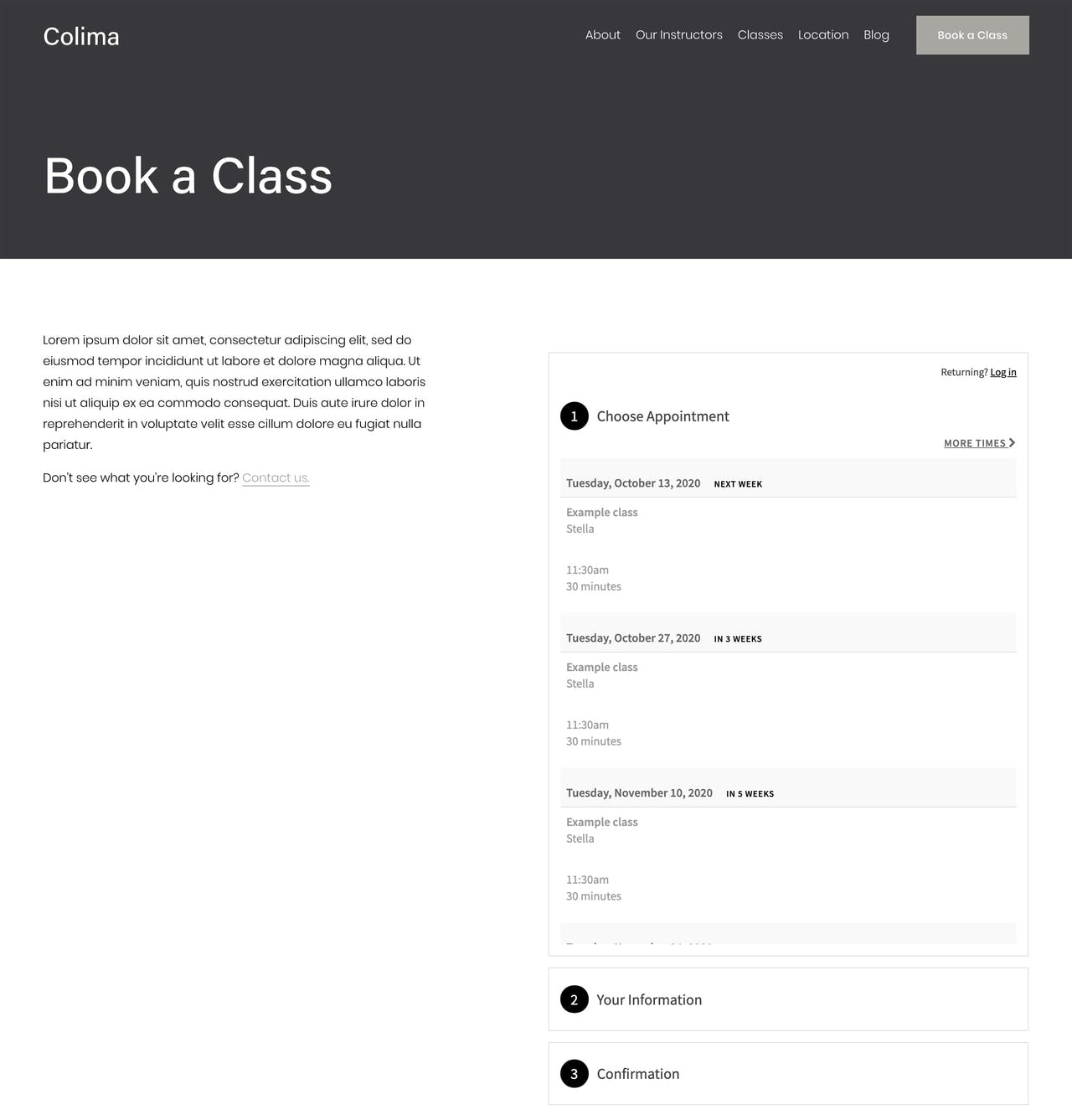 Squarespace Colima Template - Booking Page Preview Screenshot