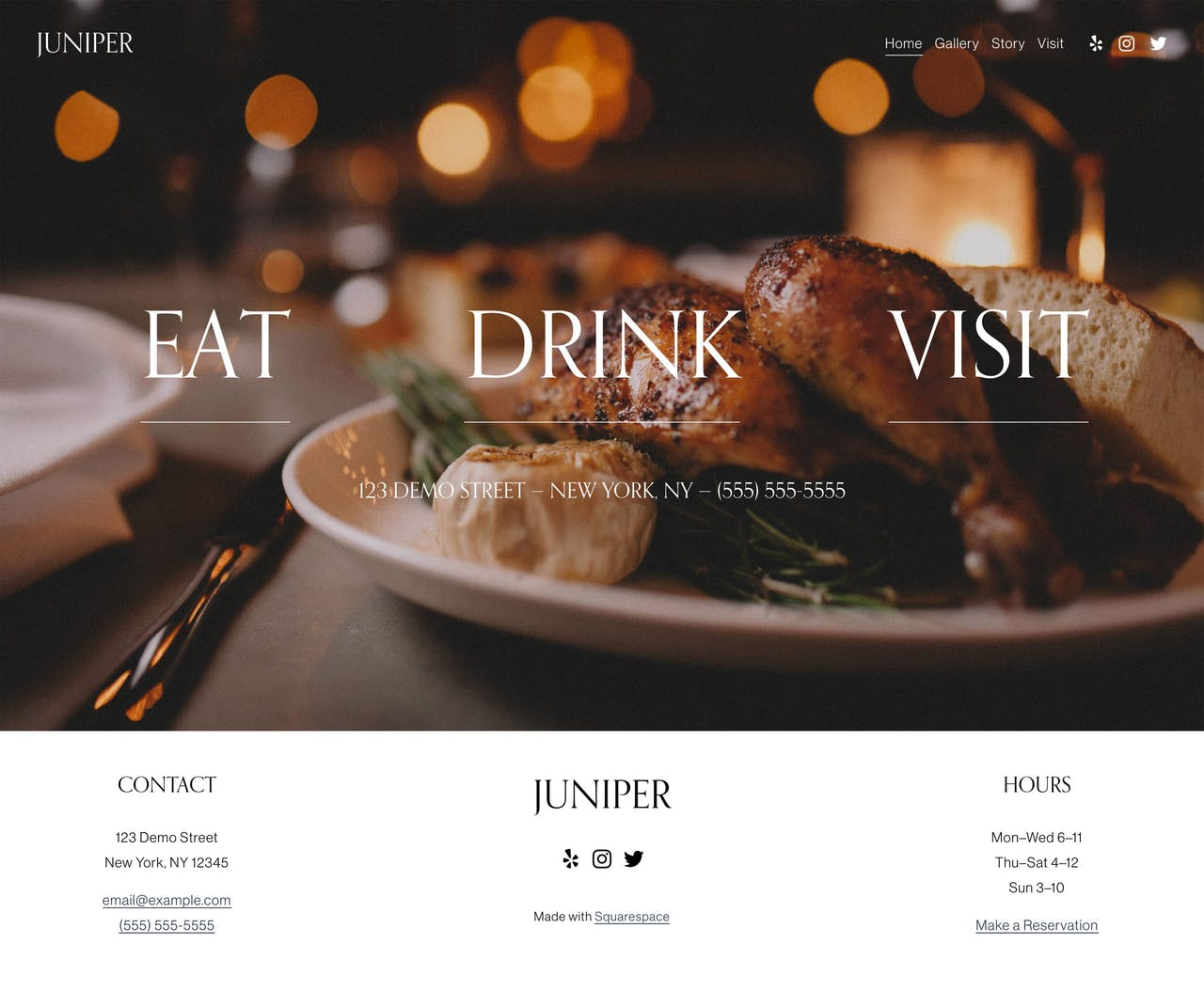 Squarespace Juniper Template - Home Preview Screenshot