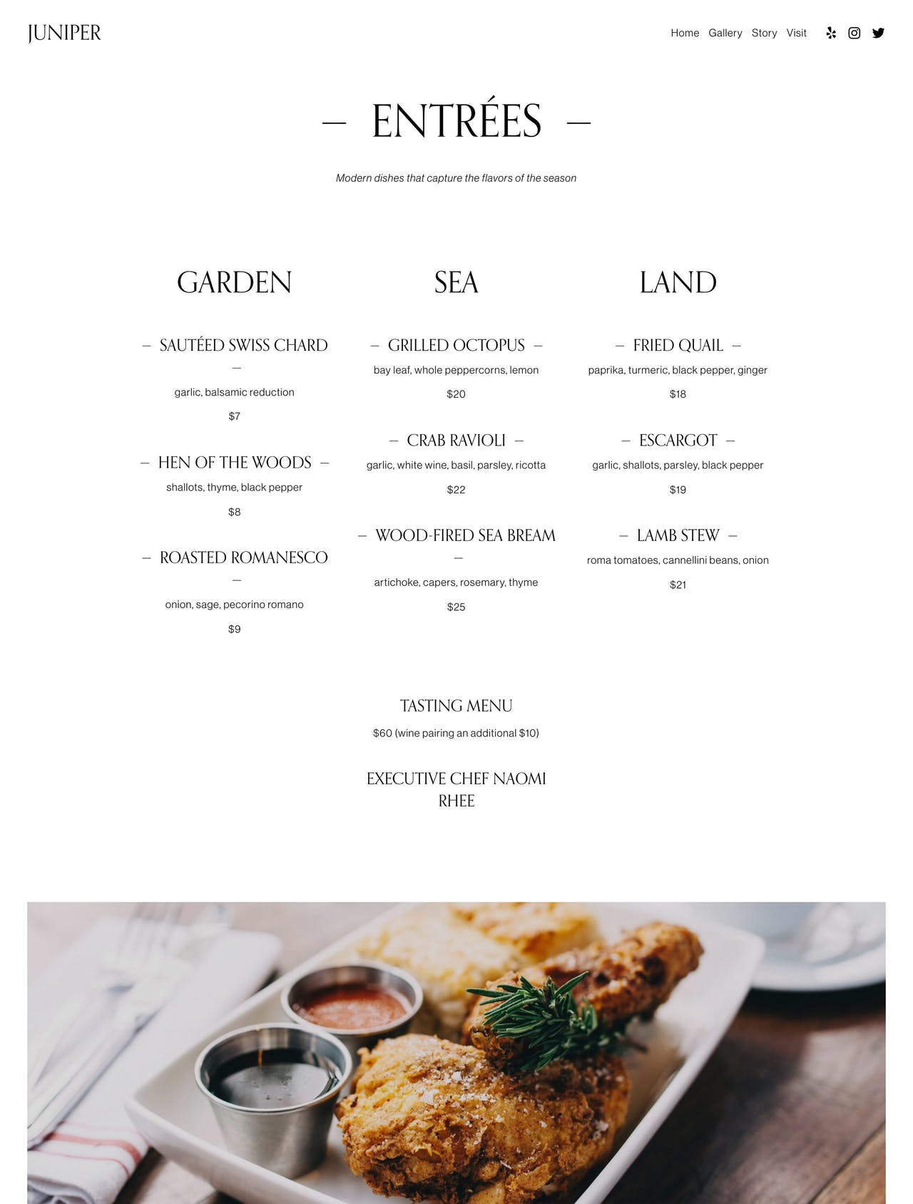 Squarespace Juniper Template - Page Preview Screenshot