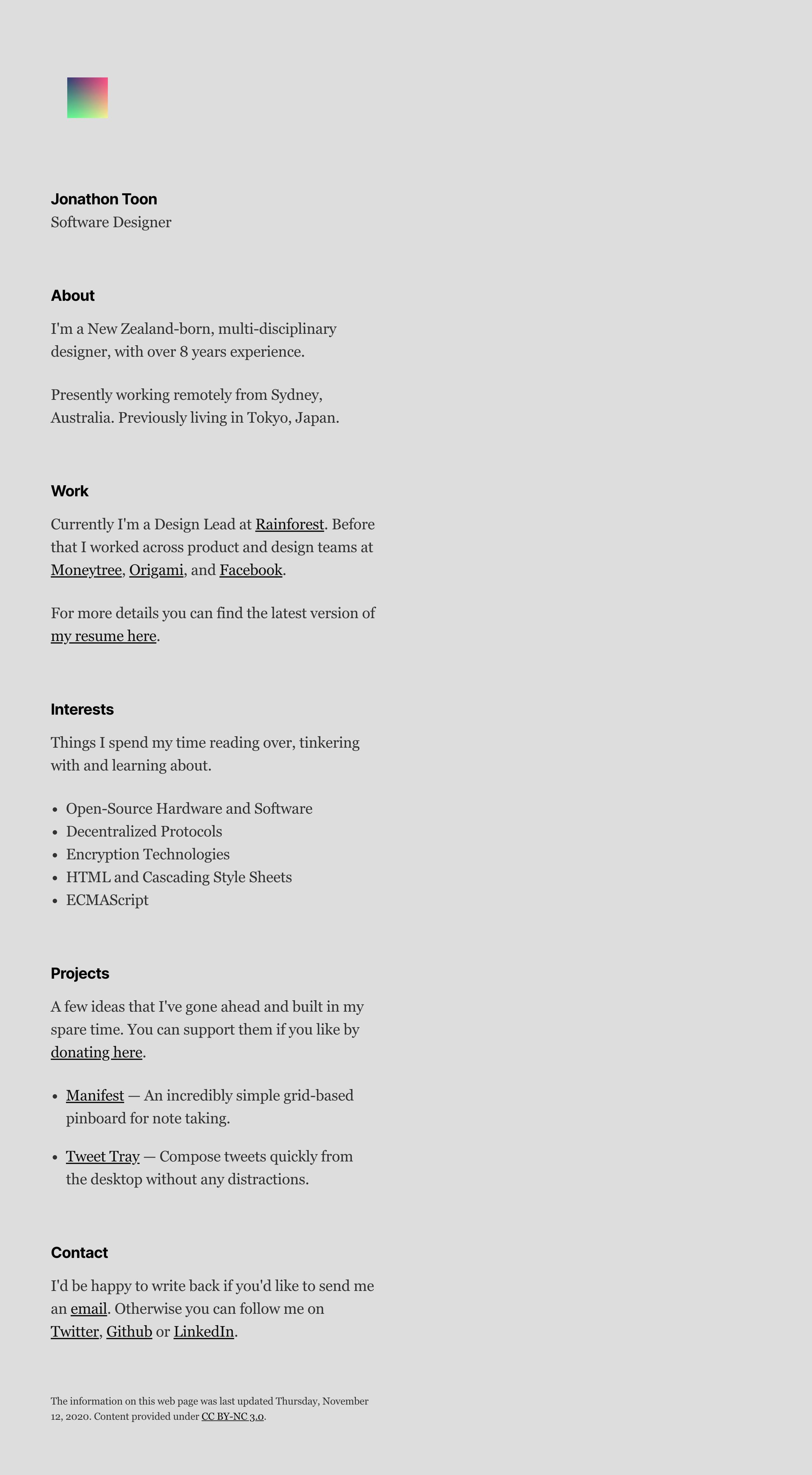 Jonathon Toon Website Screenshot