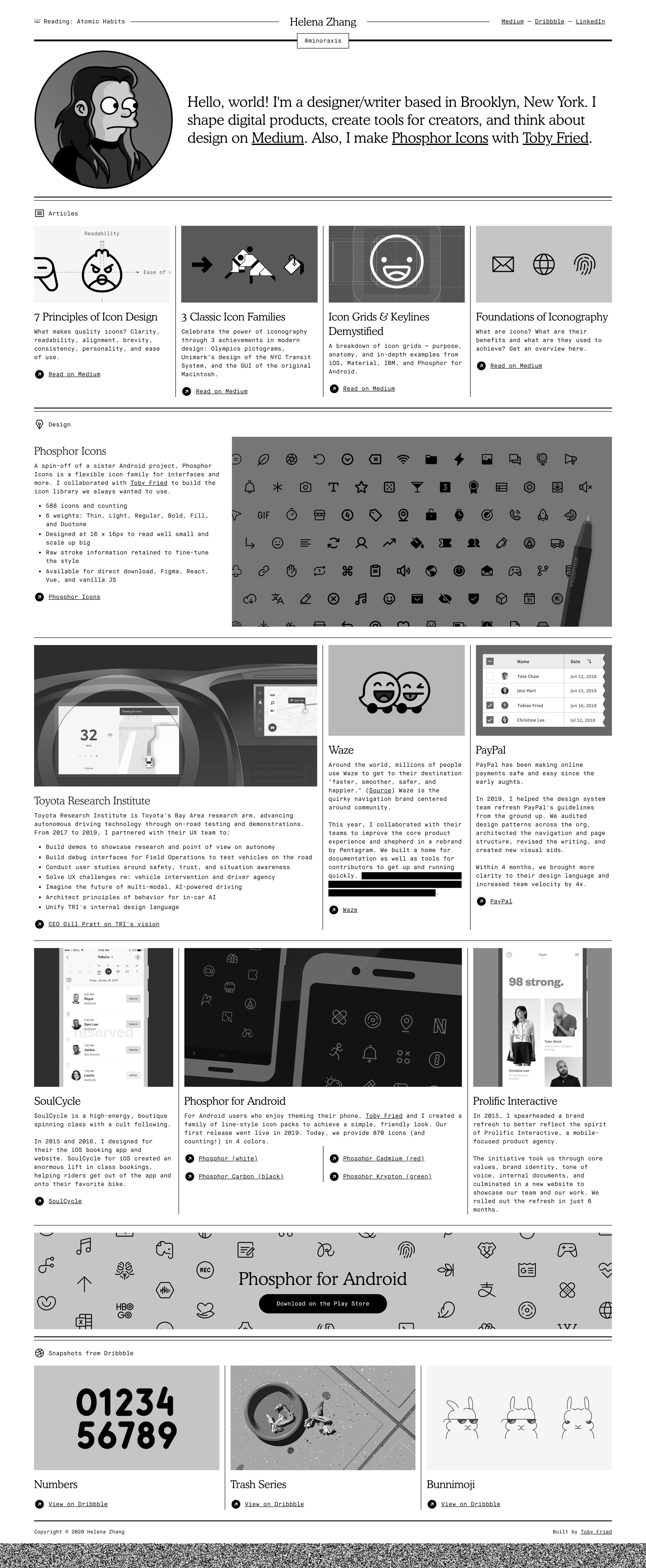 Helena Zhang Website Screenshot