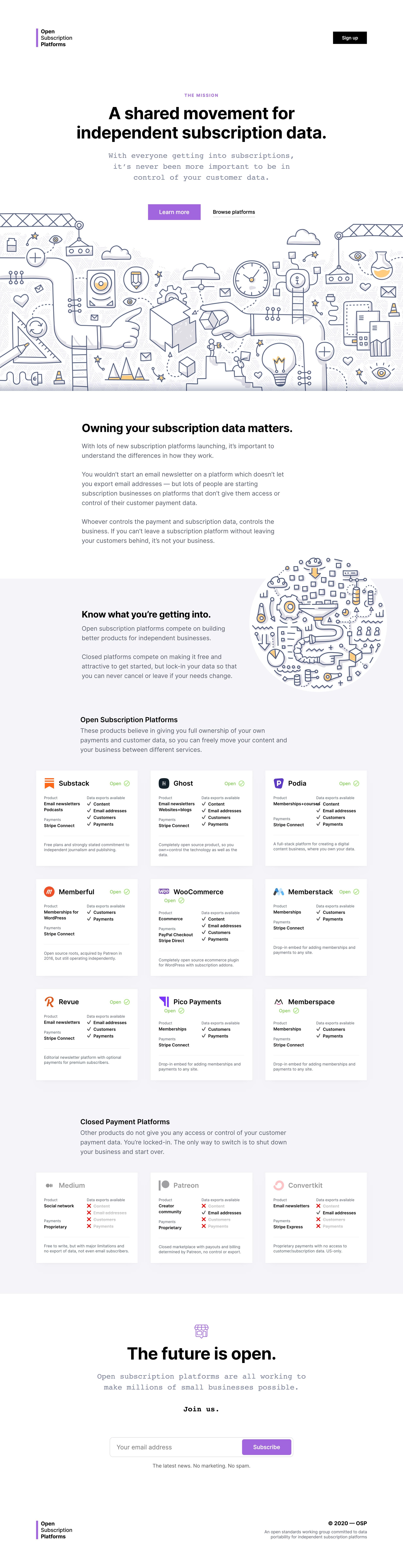 Open Subscription Platforms Website Screenshot