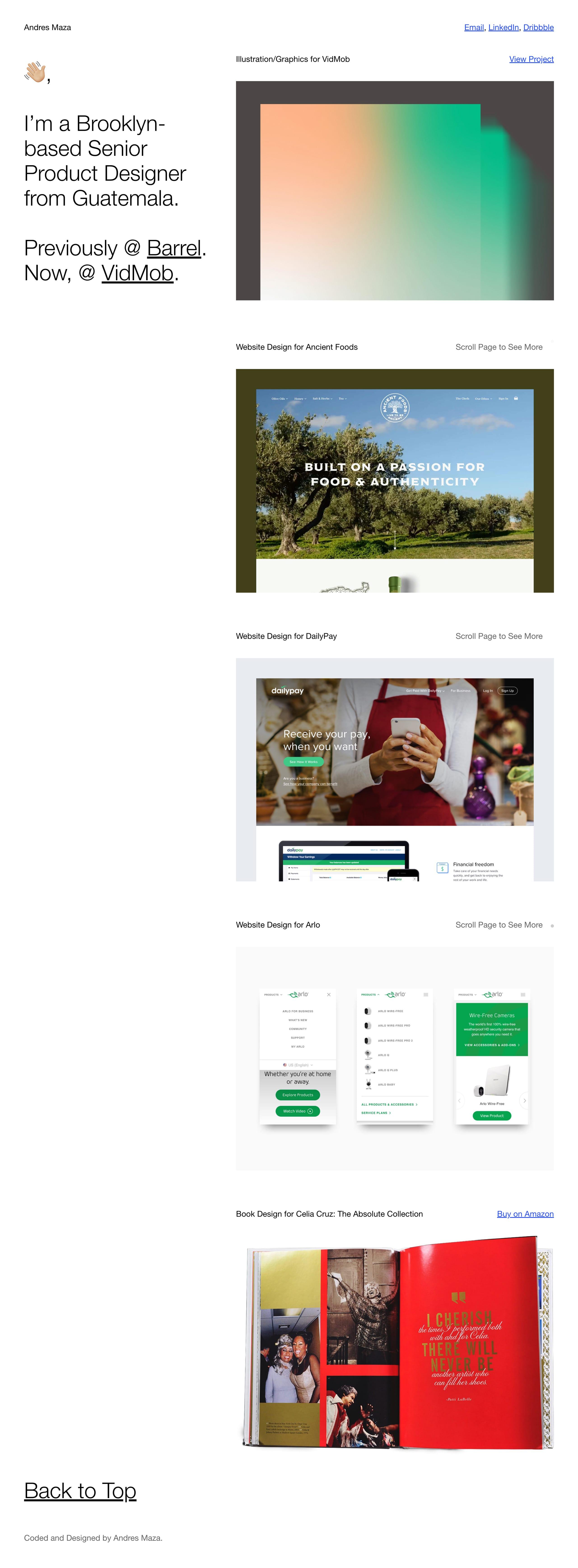 Andres Maza Website Screenshot