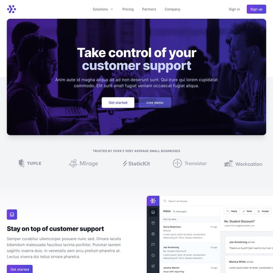 Tailwind UI – Marketing Page Thumbnail Preview