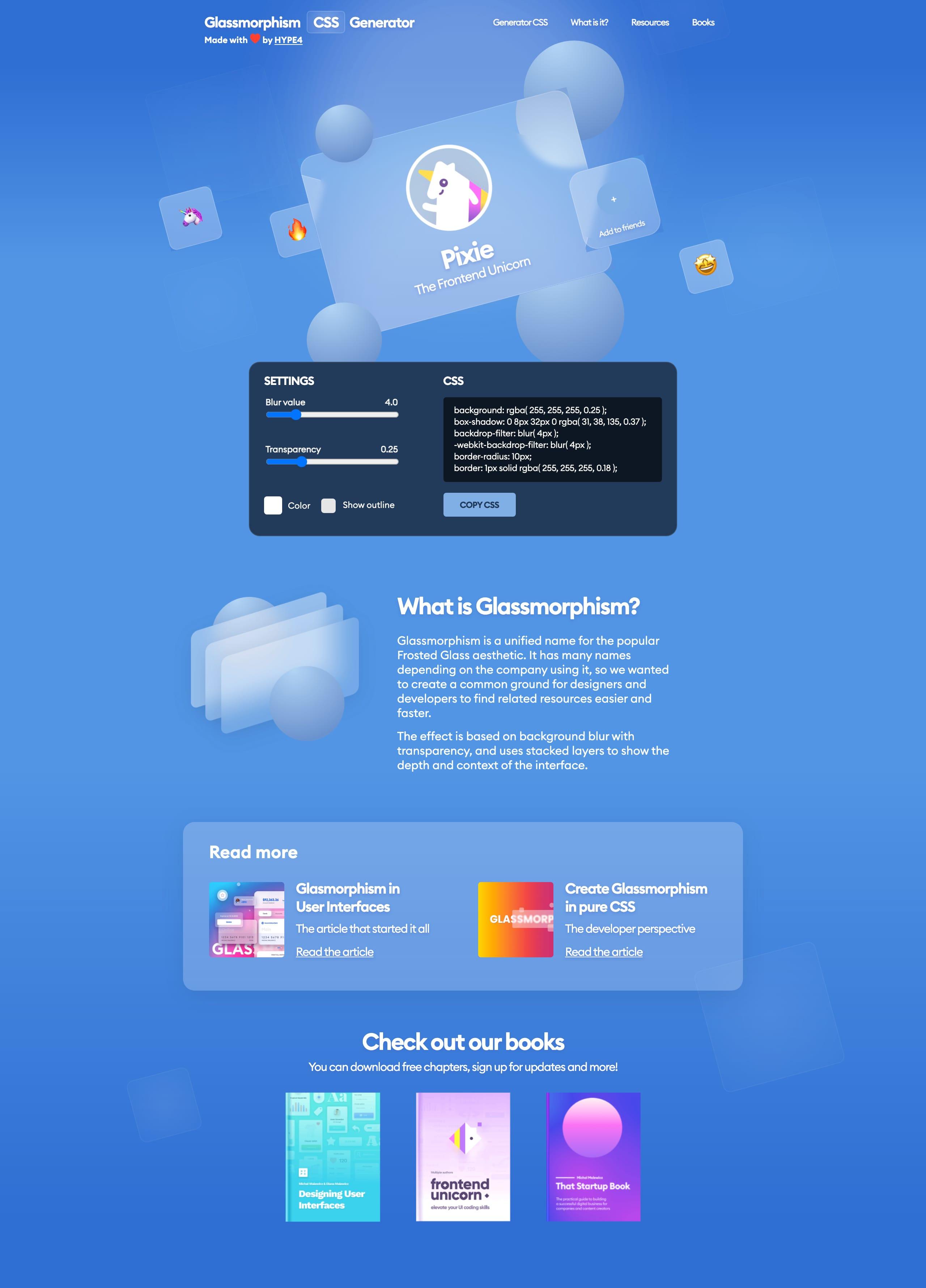 Glassmorphism CSS Generator Website Screenshot