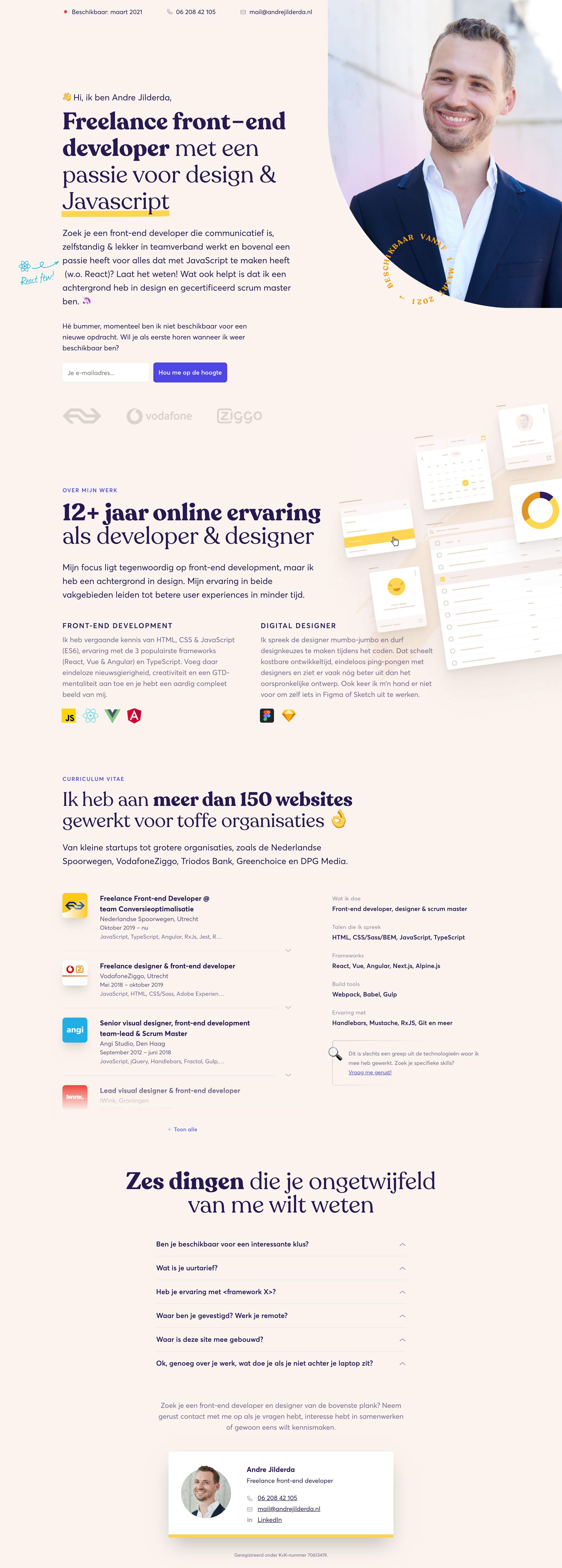 Andre Jilderda Website Screenshot