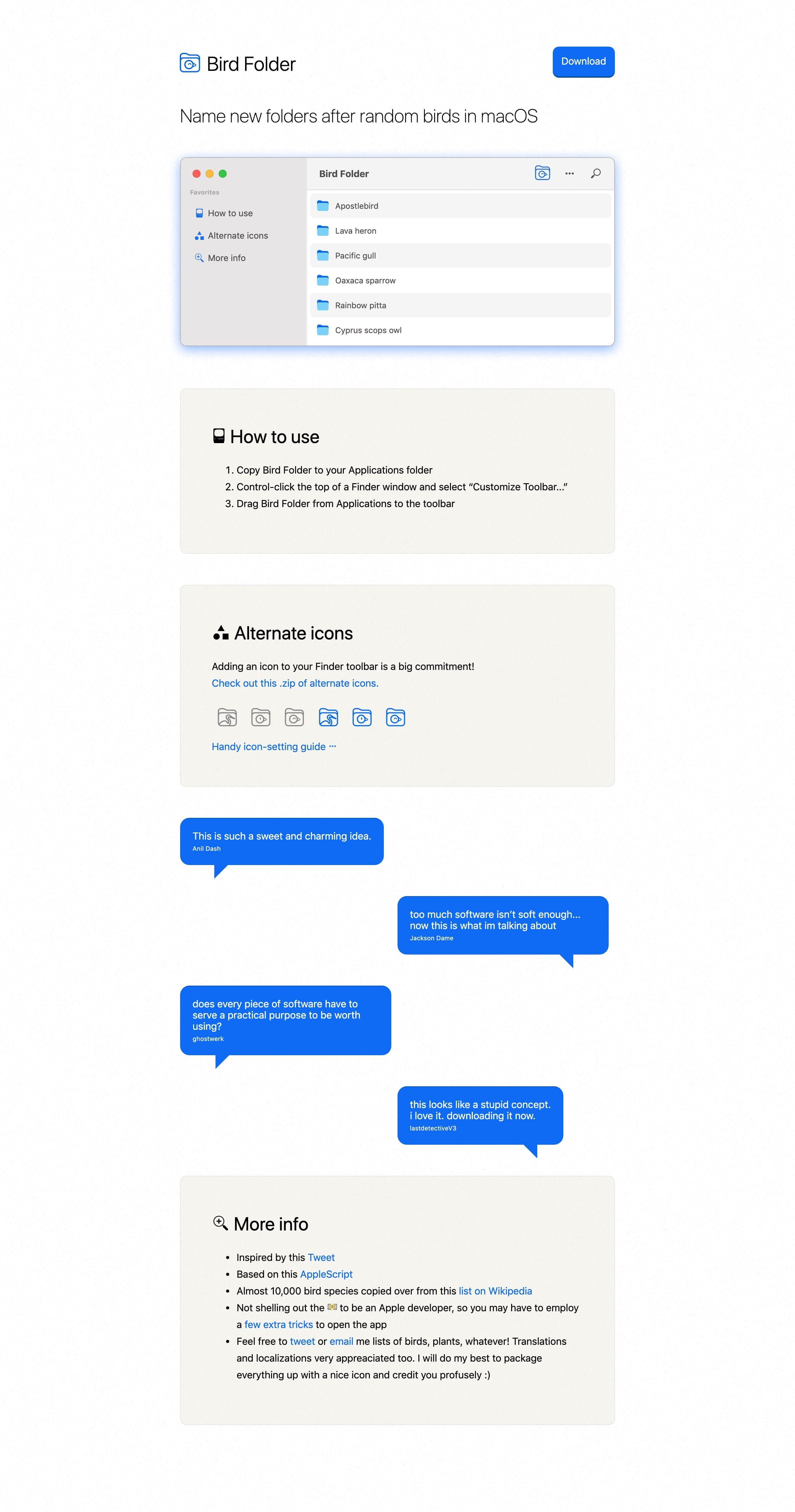 Bird Folder Website Screenshot