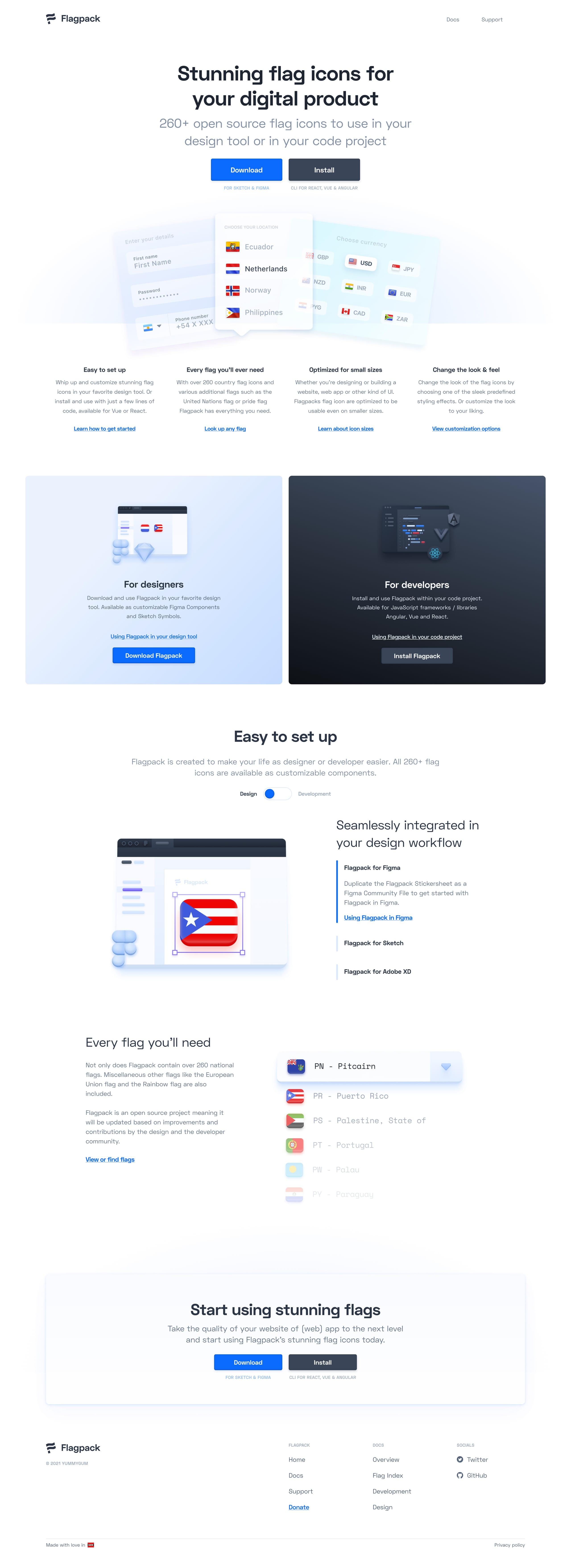 Flagpack Website Screenshot