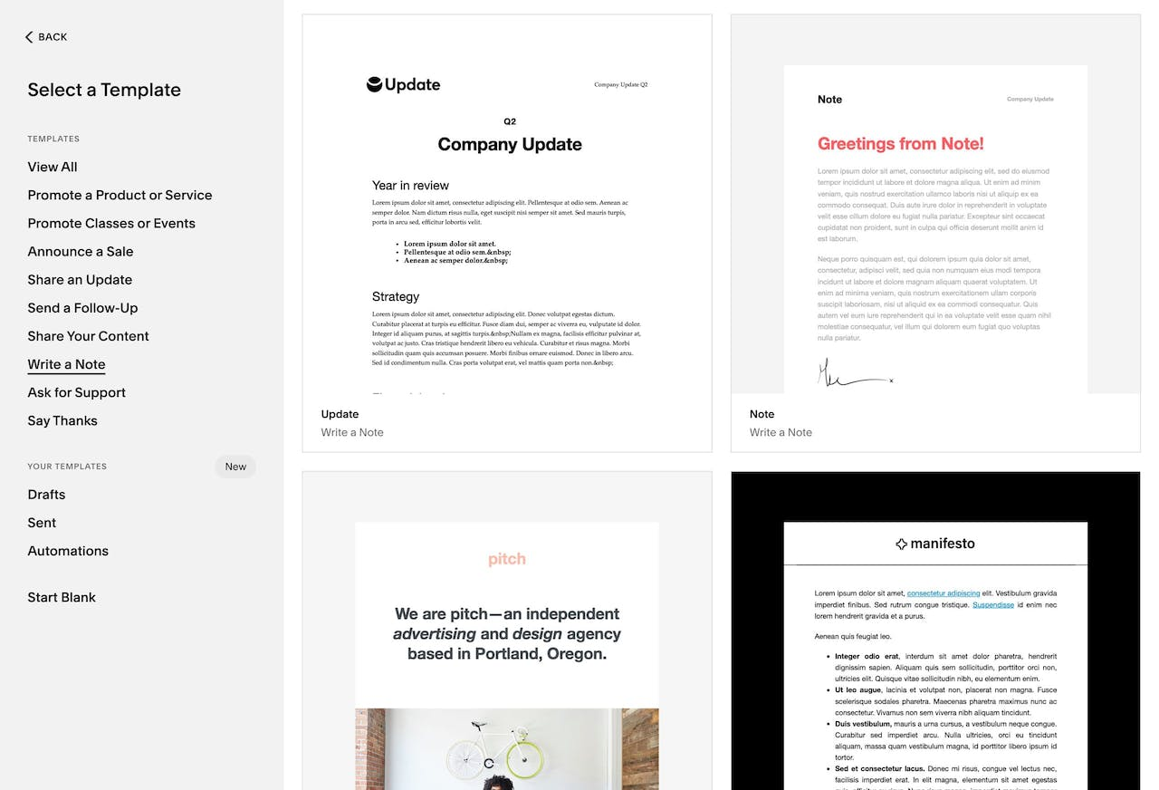 Squarespace Email Campaigns - Template Designs Screenshot