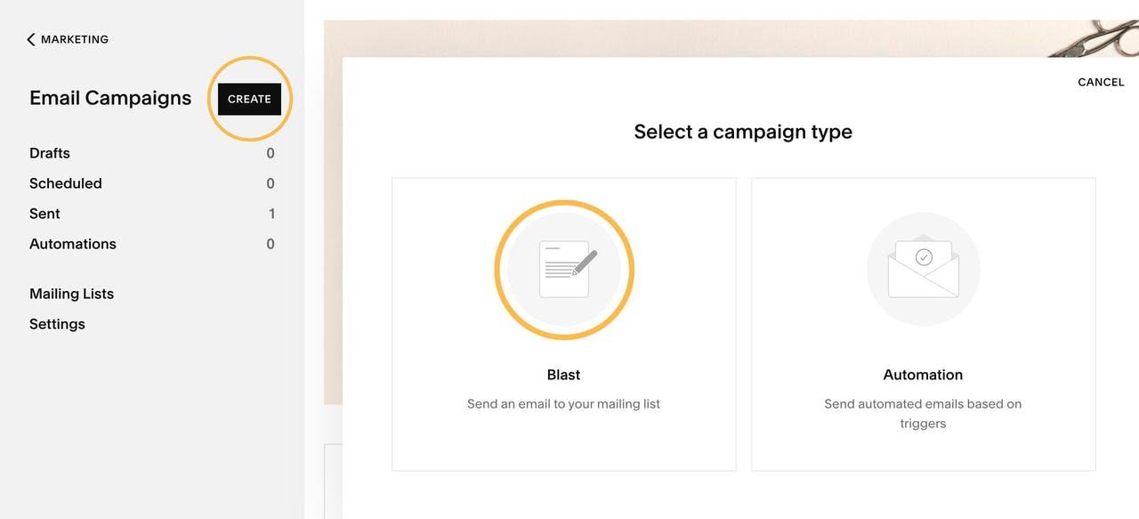 Squarespace Email Campaigns - Create Blast Campaign Screenshot