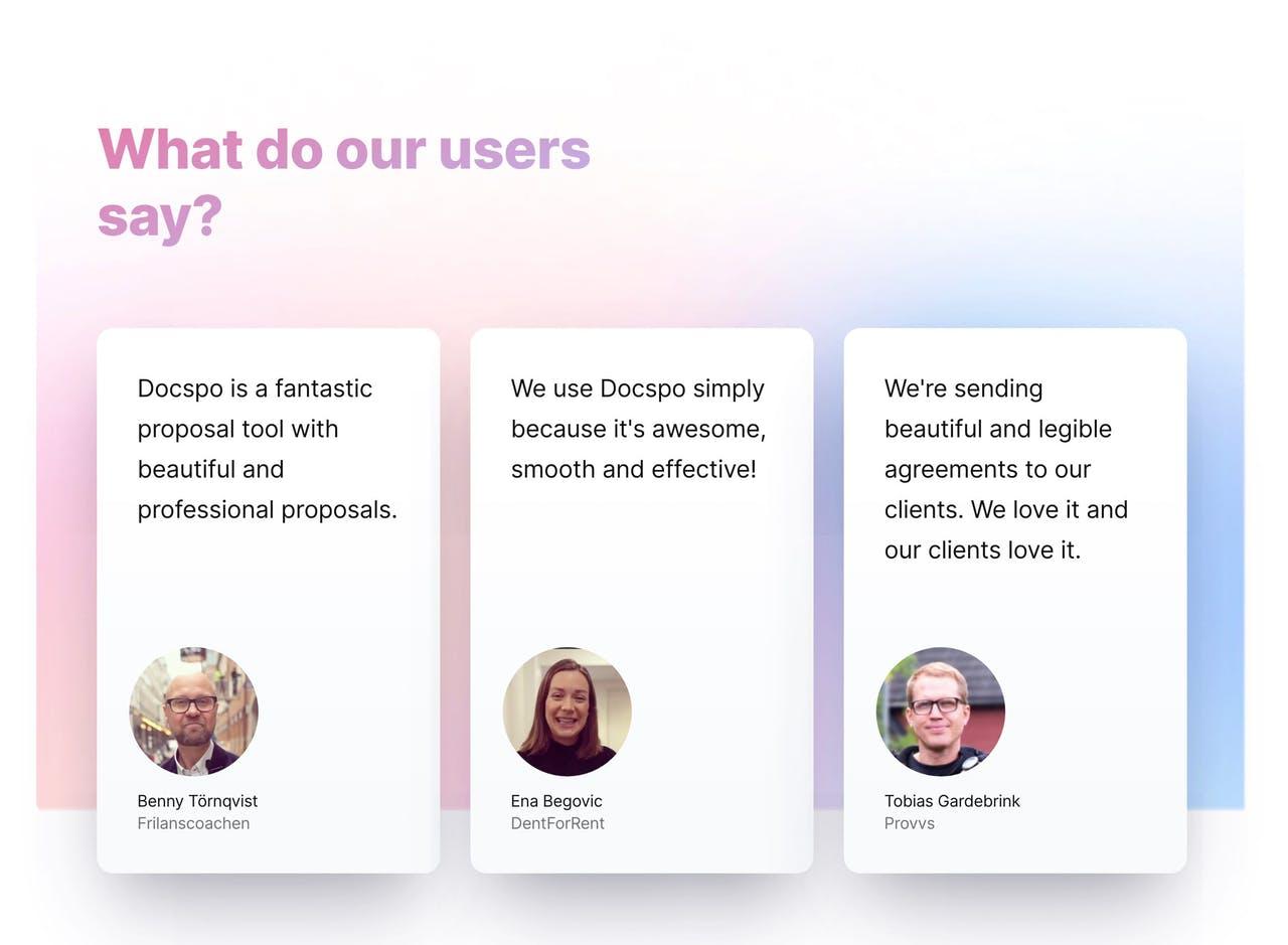 Testimonials with card-style design - Docspo Screenshot