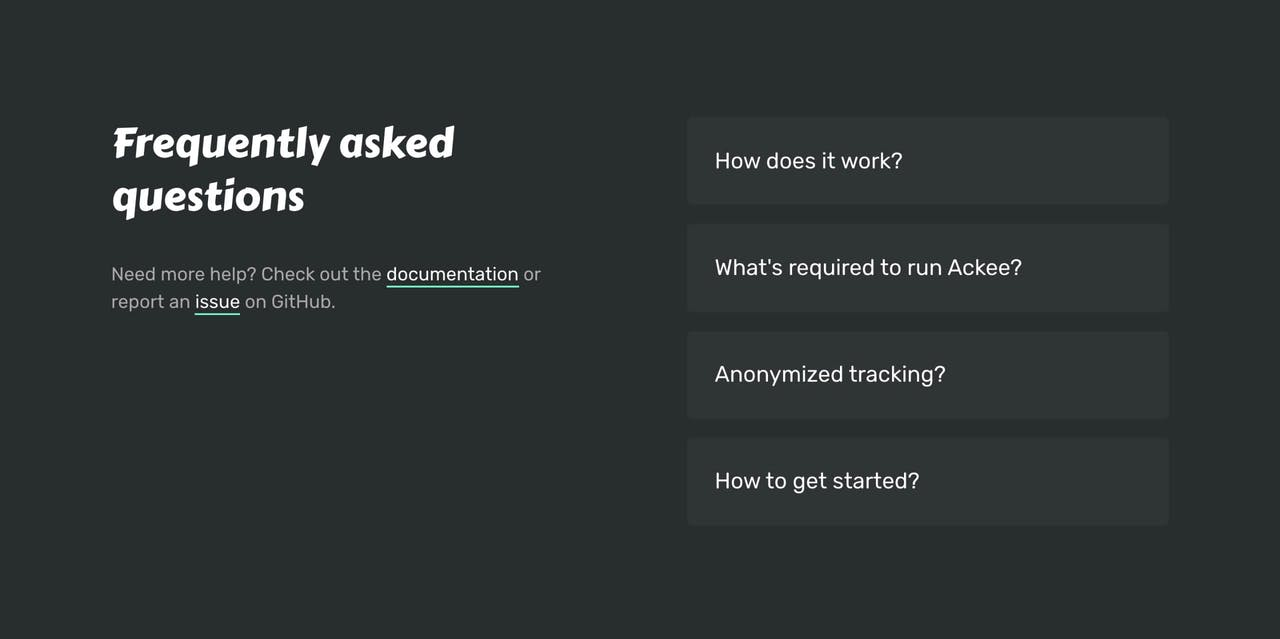 FAQ Section - Ackee Screenshot