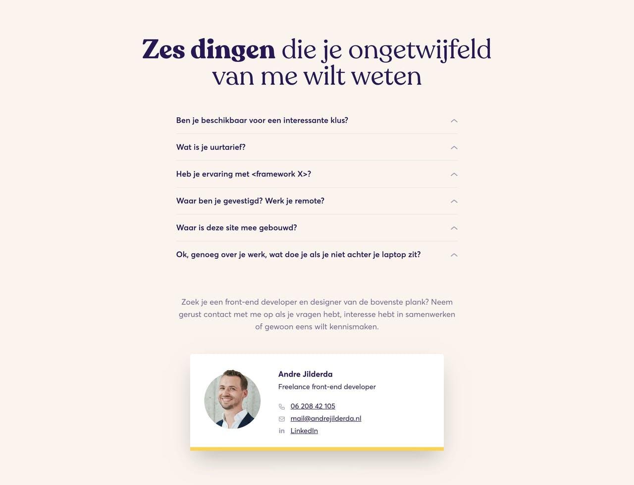 FAQ Section - Andre Jilderda front-end dev Screenshot