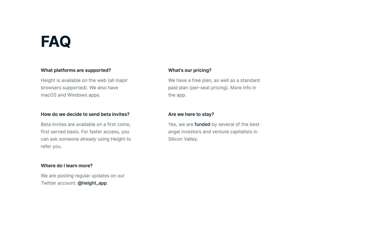FAQ Section with minimal layout - Height collaboration app Screenshot