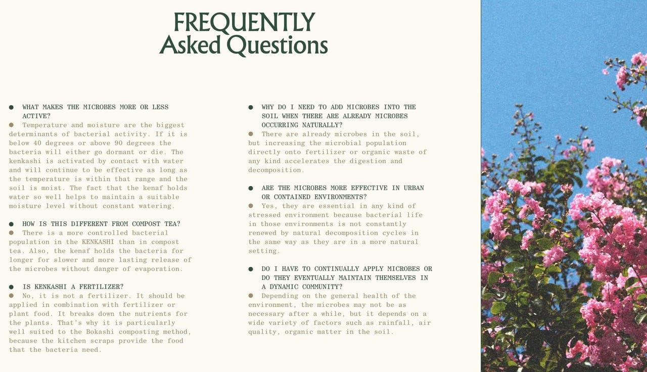 FAQ Section - Kenkashi soil additive Screenshot