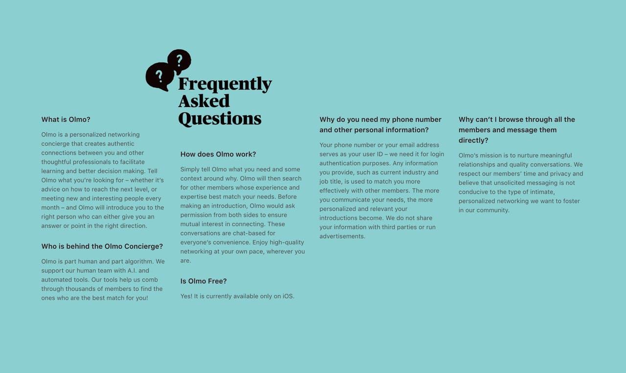 FAQ Section - Olmo networking app Screenshot