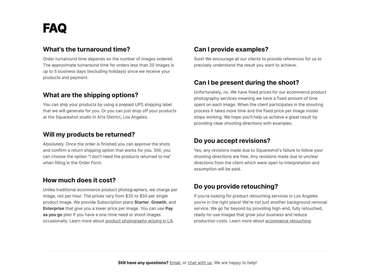 FAQ Section - Squarespace Product Photography Screenshot