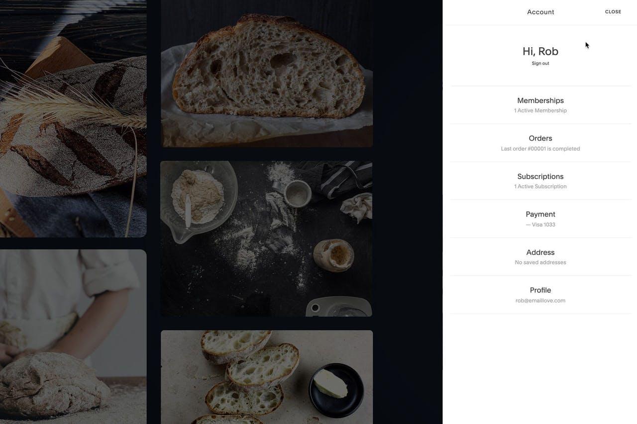 Squarespace Member Areas - Customer Account View Screenshot