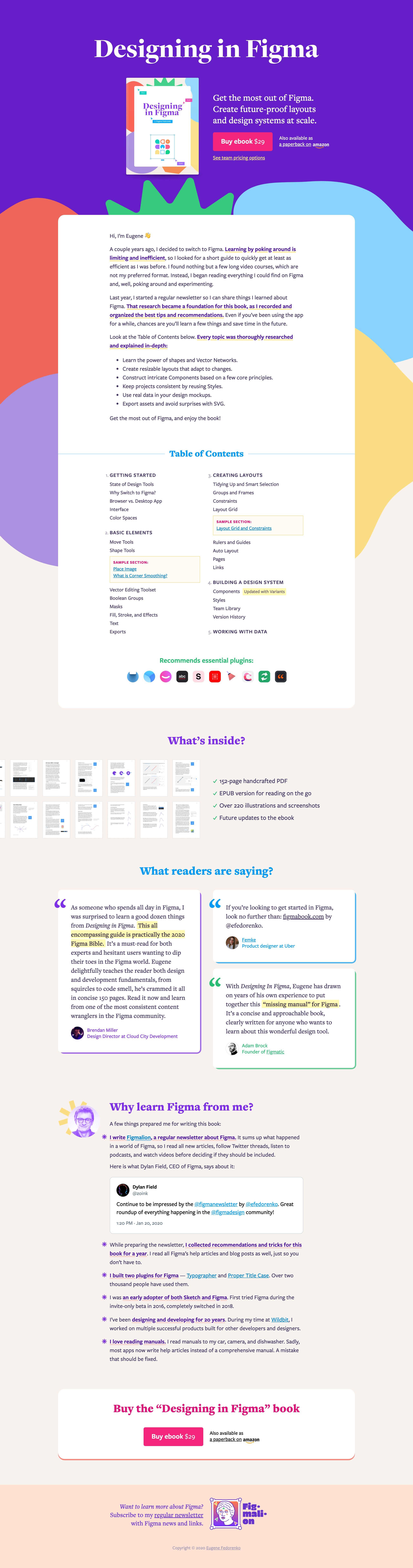 'Designing in Figma' Book Website Screenshot