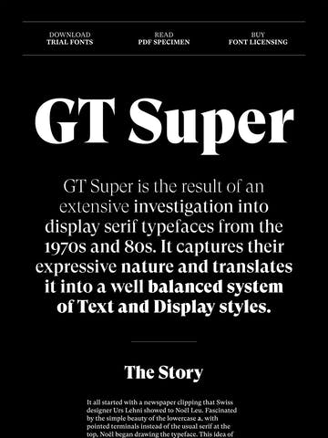 GT Super Typeface Thumbnail Preview