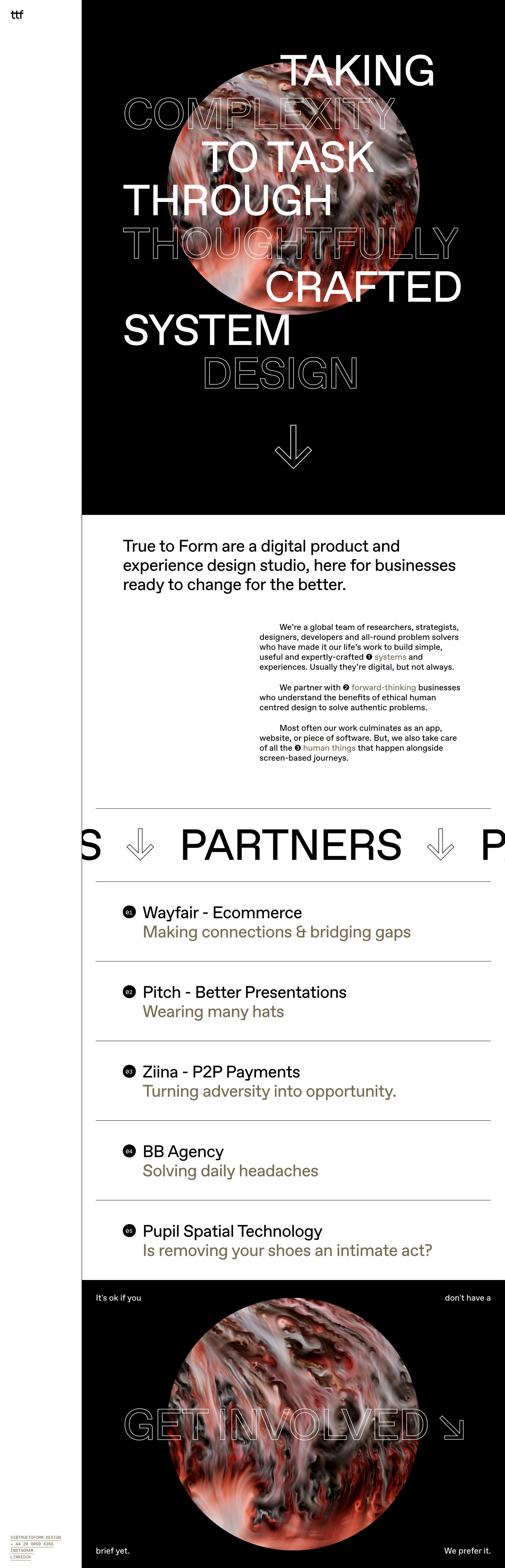 True to Form Website Screenshot