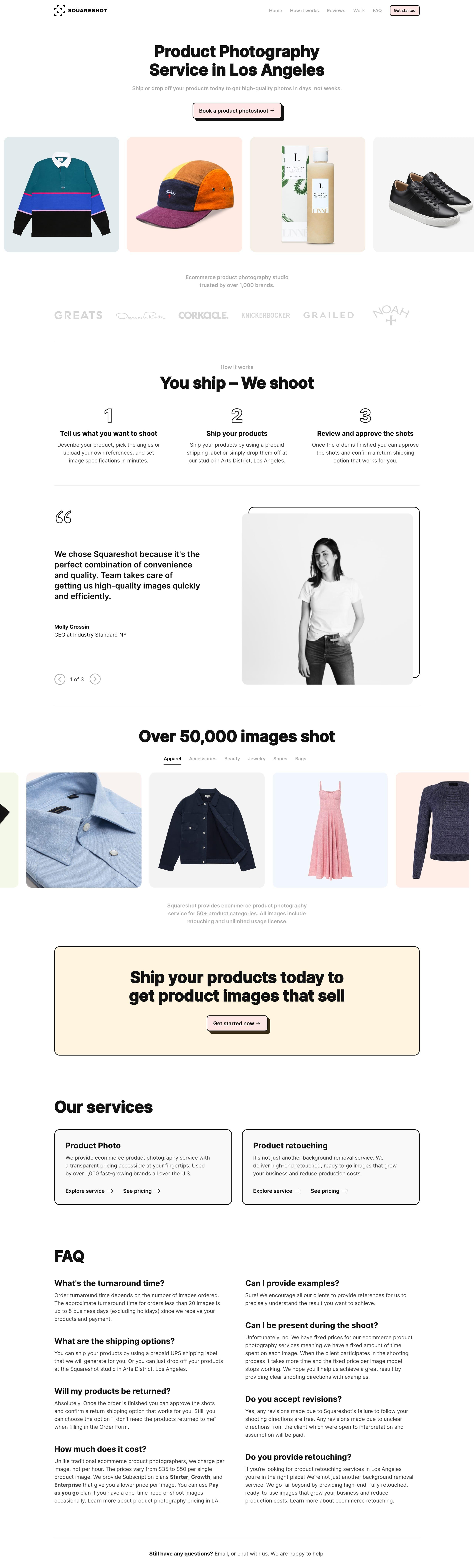Squareshot Product Photography Website Screenshot