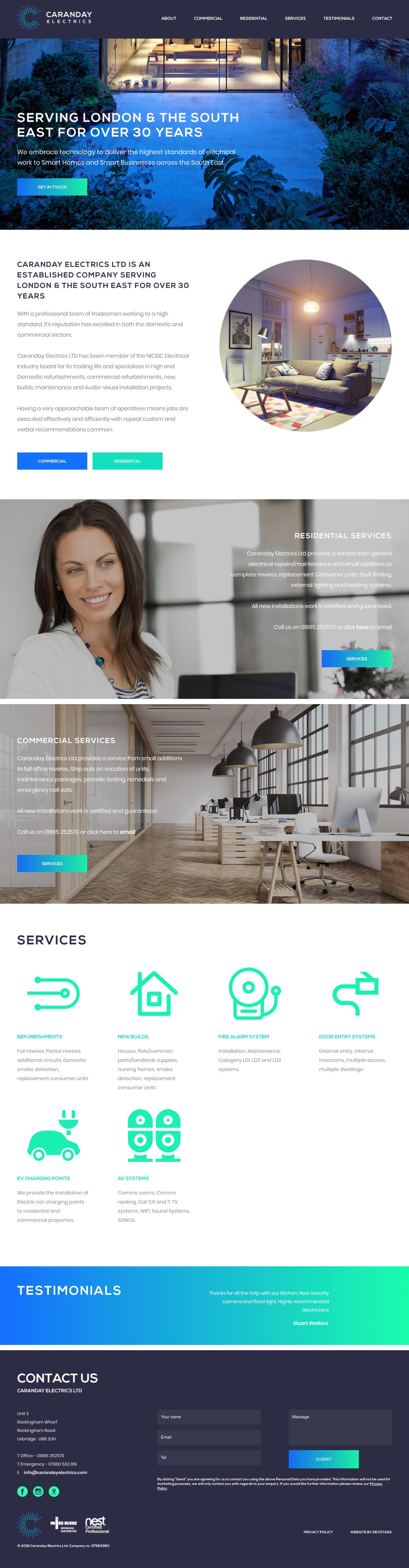 Caranday Electrics Website Screenshot