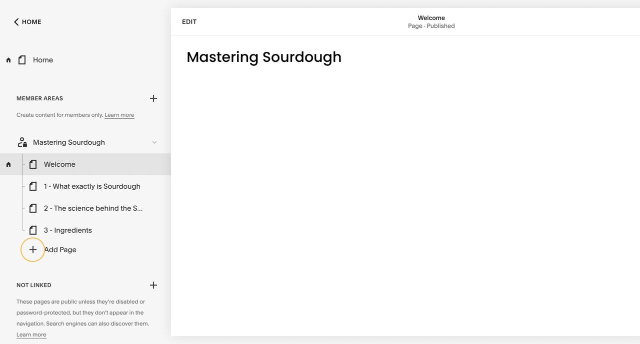 Squarespace Member Areas - Adding Pages Screenshot