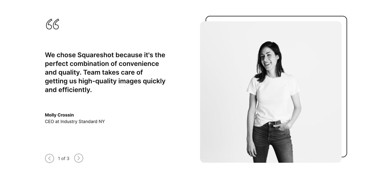 Testimonial Slider - Squareshot Product Photography Screenshot