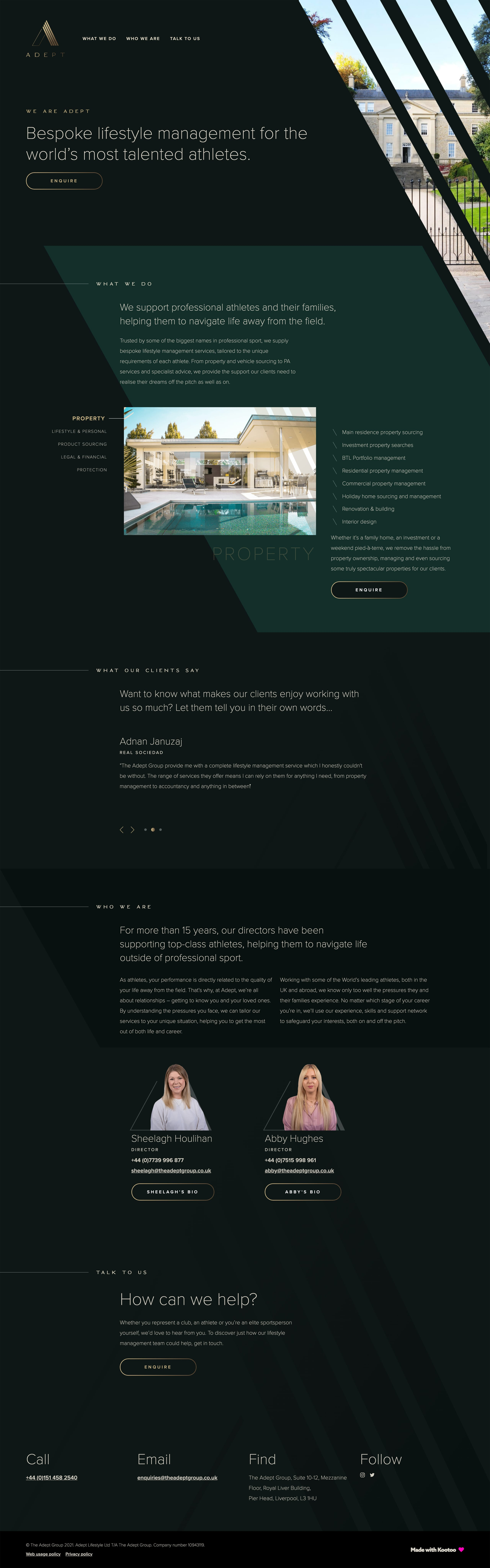 The Adept Group Website Screenshot