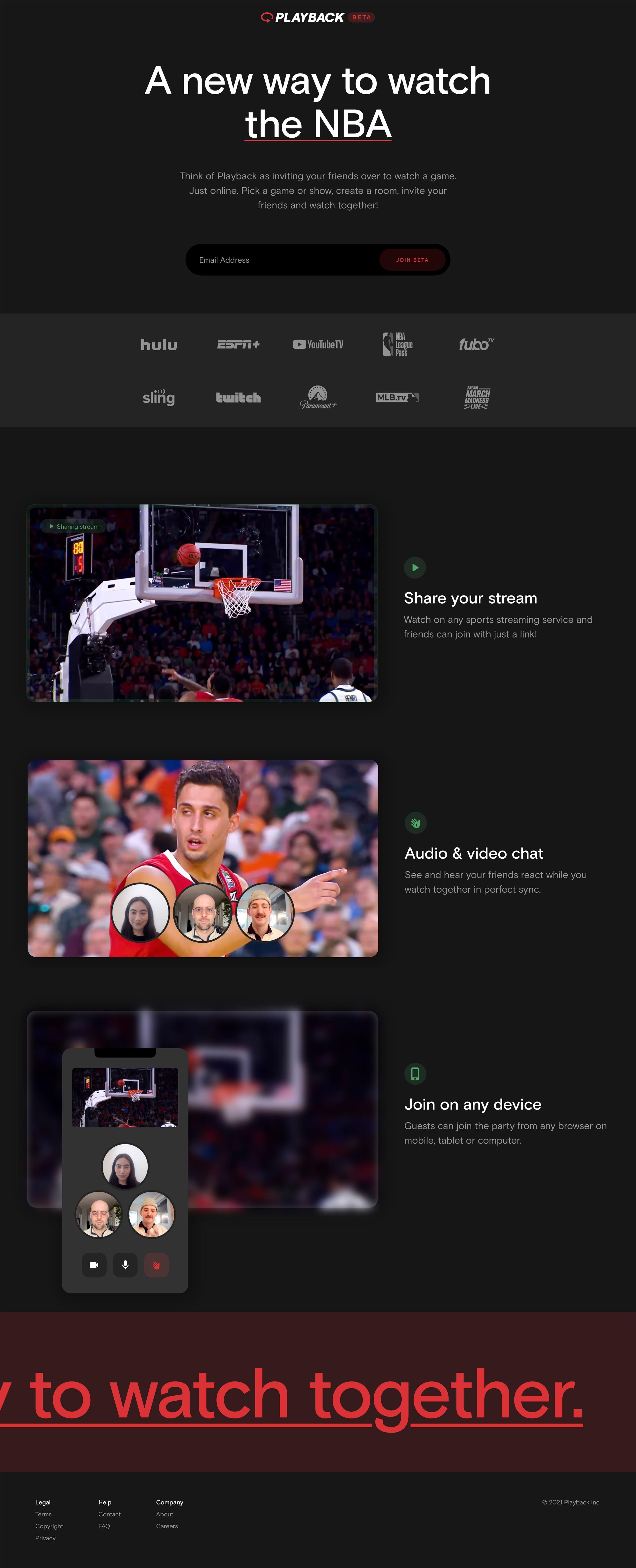 Playback Website Screenshot