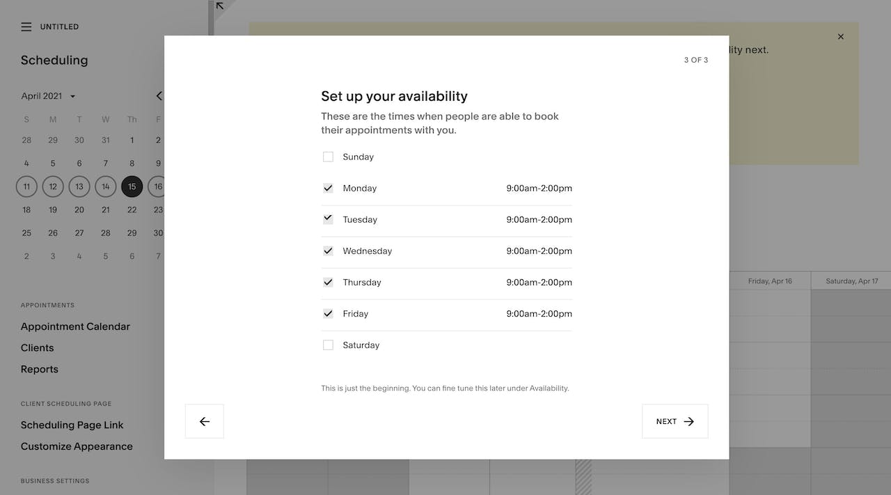 Squarespace Scheduling - On-boarding 3 of 3 Screenshot