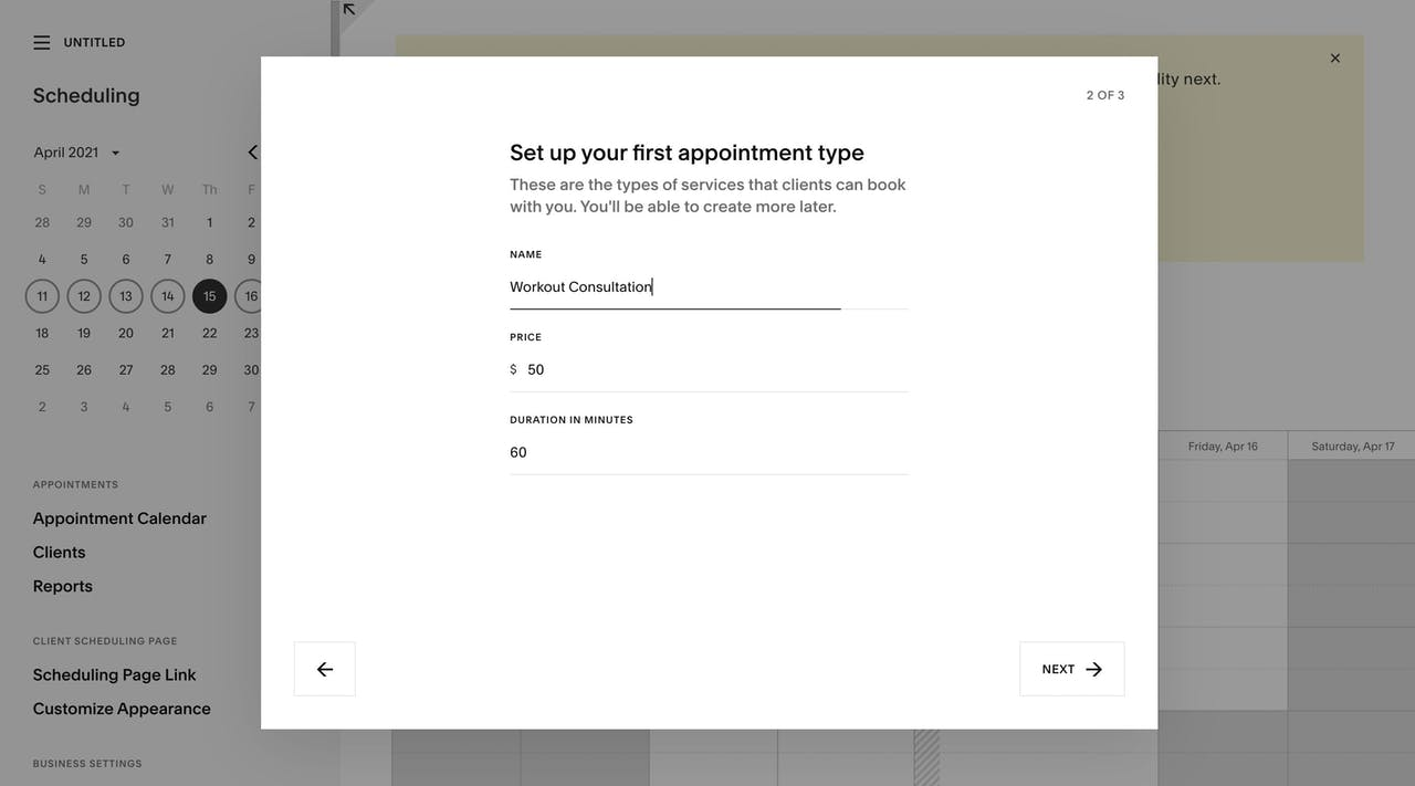 Squarespace Scheduling - On-boarding 2 of 3 Screenshot